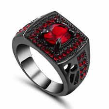 SZ 7 Princess Cut 10KT Black Gold Filled (red)Ruby Wedding Ring  Gift