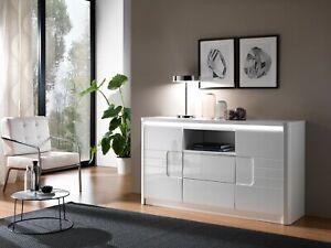 White High Gloss Sideboard Storage Unit Cabinet Italian Furniture LED Light