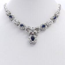 "New 14k White Gold 2.63ctw Sapphire Pavé Halo Diamond Bow Necklace 16"""