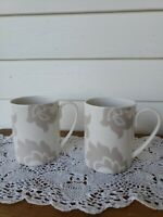 Set of (2) Martha Stewart Lisbon Gray Coffee Cups Mugs Scroll Collection Macy's