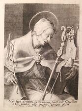 ETCHING ACQUAFORTE BULINO Egidio SADELER S.AMBROGIO VESCOVO  1500 reliqua relic