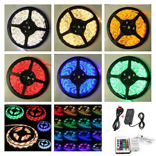 12V 5M RGB Colour Changing LED Strip Light Adapter Remote SMD5050 Under Cabinet