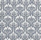 Decorator ~Upholstery ~ NAVY & WHITE ~French Scrolls~ Fabric~per 1/4 yard