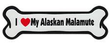 Dog Bone Shaped Car Magnets: I Love My Alaskan Malamute
