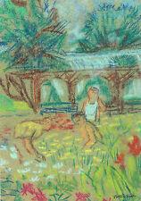 """PLANTING FLOWERS"" by Ruth Freeman PASTEL 8 1/4"" X 11 1/2"""