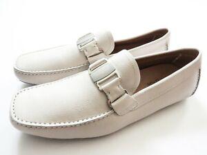 SALVATORE FERRAGAMO Off White Pebble Leather Shoes Size 10 US 44 Euro 9 UK