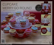 Mrs. Fields Red & White Cupcake & Cone Merry-Go-Round Serving Dish Holds 24 NIB