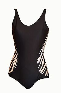 Black Slimming One Piece Backless swimsuit costume with removable pads uk 6-16
