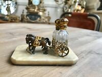 Antique French Palais Royal Ormolu Perfume In A Horse Drawn Chariot
