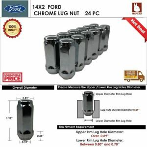 24PC FORD EXPEDITION/F-150 14X2 CHROME WHEEL LUG NUT BULGE ACORN CONICAL SEAT