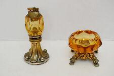 Vintage Victorian Pedestal Crystal Lighter And Ash Tray Amber Glass