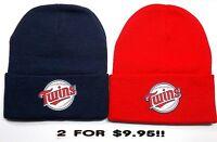 READ LISTING! Minnesota Twins HEAT Applied Flat Logos on 2 Beanie Knit Cap hat