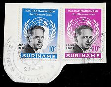 Surinam stamps 1962 NVPH 376-377 376 ERROR Shifted Middlepeace CANC  VF