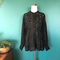 VERONIKA MAINE Black Long Sleeve Floral Broderie Cotton Button Up Shirt Size 6-8
