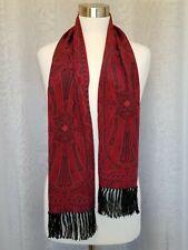 """Vintage Anne Klein for Vera 100% Silk Scarf 8.5"""" x 51� Burgundy / Black Tassels"""