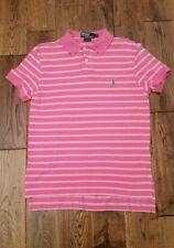 Polo Ralph Lauren Mens Polo Shirt M Medium Custom Fit Pink Mesh Knit Striped