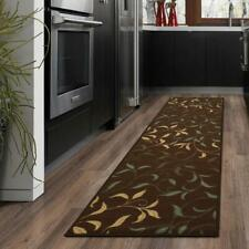 2 x 5 ft. Brown Leaves Runner Rug Non-Slip Water Resistant Chocolate Pattern
