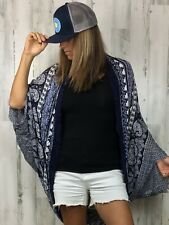 AEO American Eagle Outfitters Sheer Blue Paisley Kimono Cover Up One Size NWT