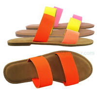 Shoreline92 Double Band Flat Slipper Sandal - Women Padded 2 Strap Slide In Shoe