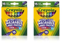 Crayola 3281 Ultra Clean Washable ColorMax Large Crayons 16 Colors SET OF TWO!