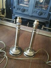 Pair Antique Brass Metal  Column bedside Table Lamps 100W  BHS ( Vintage)