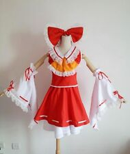 Touhou Project Hakurei Reimu Cosplay Costume Red Mix White Full Set Fold Dress S