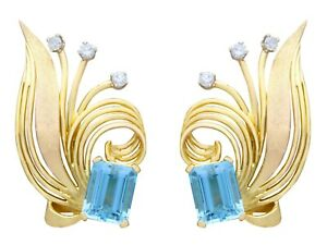 Vintage 6.30ct Aquamarine and Diamond 18k Yellow Gold Earrings