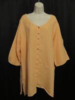Soft Surroundings Orange Sherbet Tunic Top 1X XL Linen Asymmetrical