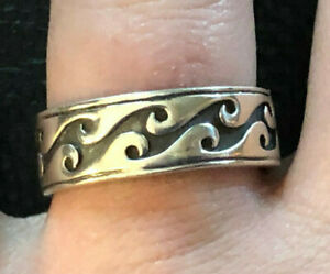 Sterling Silver Ring Band Wave Tribal Oxidized Surfer Sz 8.75-9 5.8g 925 #1213