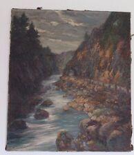 "altes Ölgemälde oil painting 78x67cm signiert "" BERGE BACH "" Landschaft TOP"