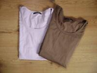 @ Rena Marx @ T-Shirt braun ODER flieder Size L Gr. 40 kurzarm Basic