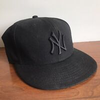 New Era 59Fifty NY New York Yankees Black Cap MLB Baseball Fitted Hat Wool 7 3/8