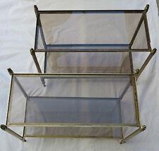 Paire de bouts de canapé rectangulaires Maison Bagués laiton,bronze,vitre fumée