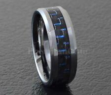 Tungsten Carbide Black Blue Carbon Fiber Ring Men's Engagement Wedding Band
