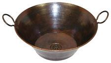 "16"" Round Copper Vessel Cazo Miner's Pan Bathroom Sink Handles"