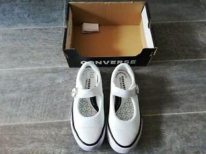 Converse BNIB Junior/Girls White CTAS Superplay Mary Jane Ox Shoes Size UK 12