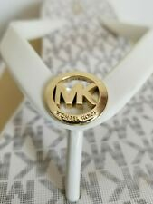 MICHAEL KORS BEDFORD MK LOGO VANILLA WEDGE THONG FLIP FLOPS  8 9 I LOVE SHOES
