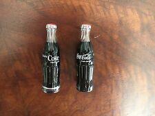 "*RARE*  Set of Two  3"" Coke Miniature Glass Bottles Mini Soda Drink Coca-Cola"
