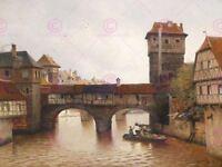 Painting Nuremberg Dieters Hangman's Bridge Henkersteg Canvas Art Print