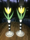 "Kosta Boda Ulrica Hydman Vallien Tulip 10"" Wine Glasses Goblets 99182 Pair"