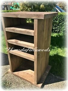 Solid wooden chunky rustic Hifi unit Media unit Entertainment cabinet