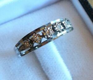 Antiker Memory Ring 750 WG mit 5 Brillanten TOP!!!! 18k Weißgold Goldring