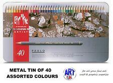 Caran d'Ache PABLO artist quality Coloured Drawing pencil SET - Metal Tin of 40