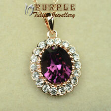 18CT Rose Gold GP Elegant Amethyst Pendant Necklace Made With SWAROVSKI Crystals