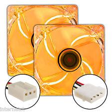 TWIN PACK SUPER SILENT 3PIN & MOLEX 120MM ORANGE LED CASE FAN - CASE COOLING X2
