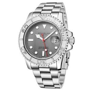 Stuhrling 3967 1 Aquadiver Quartz Date Stainless Steel Bracelet Mens Watch