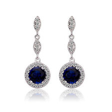 Vintage Design Shiny Luxury Teardrop Silver & Sapphire Blue Drop Earrings E652