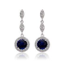 Vintage Design Shiny Luxury Teardrop Silver & Sapphire Blue Drop Earrings E652