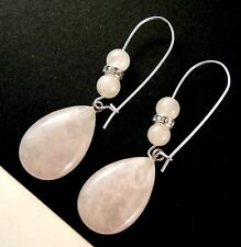 Pair of Natural Rose Quartz Tear Drop Gemstone Dangle Earrings with Beads #1432