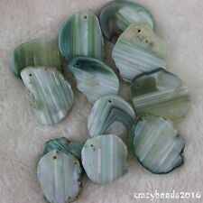 25-35mm Green Banded Agate Gemstone Freeform  Pendant DIY Jewelry Making Stone